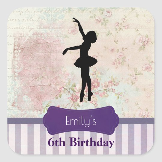 Ballerina Silhouette on Vintage Pattern Birthday Square Sticker
