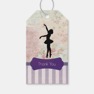 Ballerina Silhouette on Vintage Pattern Thank You Gift Tags