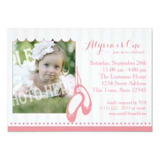 Ballerina Slippers First Birthday with Photo 13 Cm X 18 Cm Invitation Card