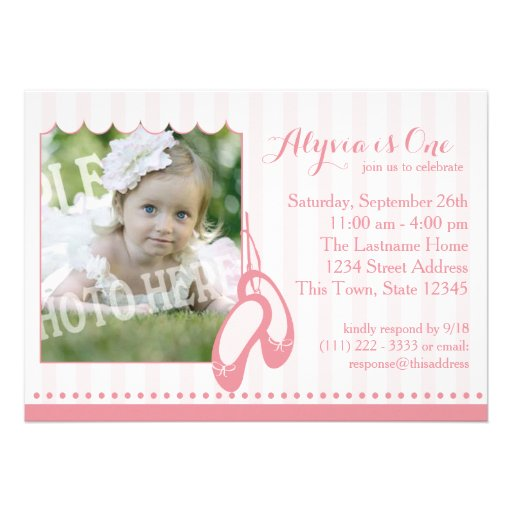 Ballerina Slippers First Birthday with Photo Custom Invitation