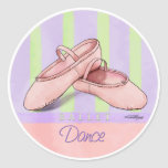 Ballerina Slippes Round Stickers
