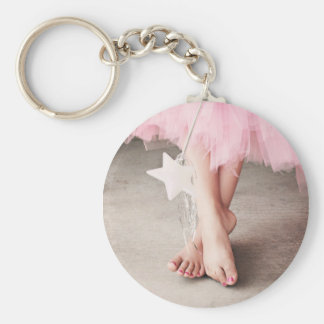 Ballerina Toes Basic Round Button Key Ring