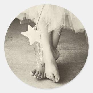 Ballerina Toes (Black & White) Round Sticker