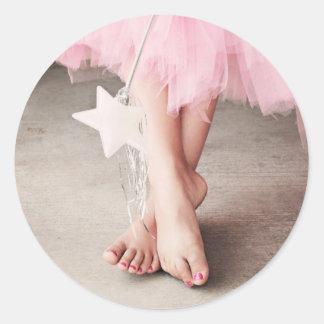 Ballerina Toes Round Sticker