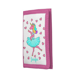Ballerina unicorn pink hearts trifold wallet
