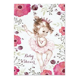 Ballerina Watercolor Glitter Poppies Baby Shower 13 Cm X 18 Cm Invitation Card