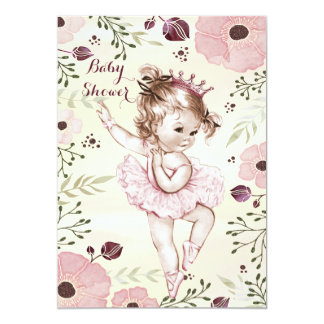 Ballerina Watercolor Poppies Baby Shower 13 Cm X 18 Cm Invitation Card