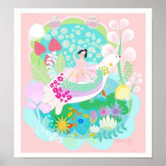 Ballerina with birds art Illustration. Poster