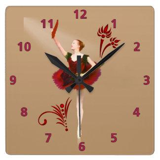 Ballerina With Fan Wallclock