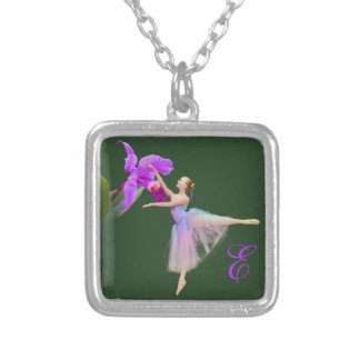 Ballerina with Orchid and Monogram Silver Plated Necklace
