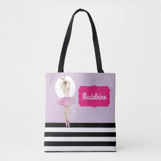 Ballerina with Pink Dress and Pointe Toe Shoes Tote Bag
