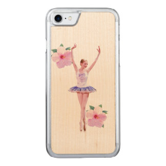 Ballerina with Pink Hibiscus Flowers Carved iPhone 8/7 Case