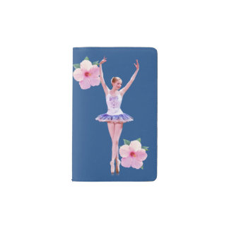 Ballerina with Pink Hibiscus Flowers Pocket Moleskine Notebook