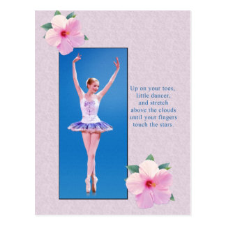 Ballerina with Pink Hibiscus Flowers Postcard