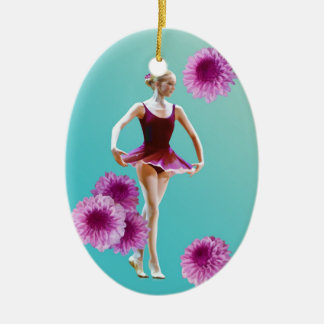 Ballerina with Pink Mums Ornament