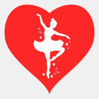 Ballerina with Stars in Silhouette in  Heart Heart Sticker