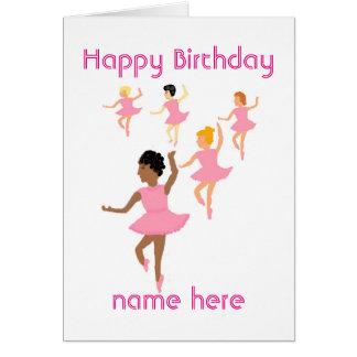 Ballerinas, childs birthday card add name front