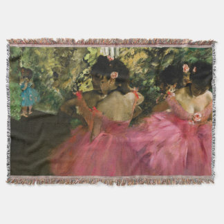 Ballerinas in Pink by Edgar Degas Throw Blanket
