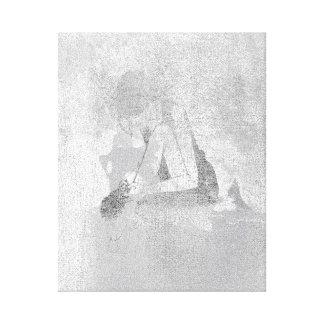 Ballerine Dancer Silver Gray Cement Wall Silver Canvas Print