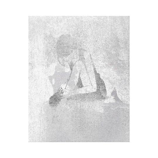 Ballerine Dancer Silver Gray Cement Wall Silver Canvas