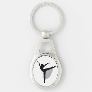 Ballet 1 Keychain, Dancer black silhouette Silver-Colored Oval Key Ring