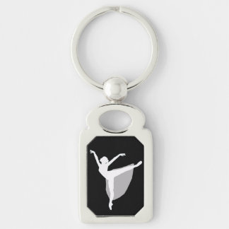 Ballet 1 Keychain, Dancer white silhouette Silver-Colored Rectangle Key Ring