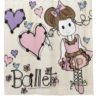 Ballet Ballerina Dancer With Hearts and Birds Shower Curtain