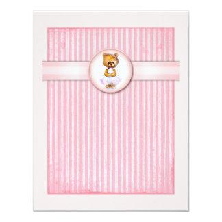 Ballet Bear Vintage Pink Candy Birthday Invitation