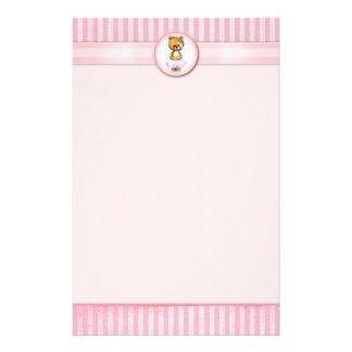 Ballet Bear Vintage Pink Candy Stripe A4 Letter Stationery