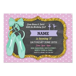 Ballet Birthday Party Tutu Ballerina Mint Invite