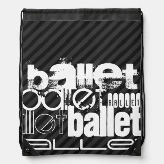 Ballet; Black & Dark Gray Stripes Drawstring Bag