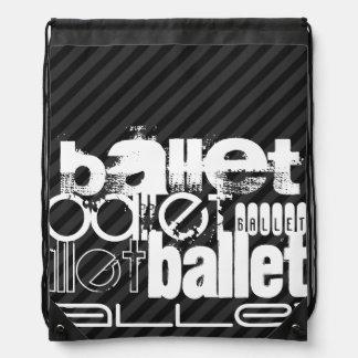 Ballet; Black & Dark Gray Stripes Rucksack
