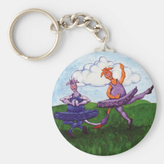 Ballet Cows Basic Round Button Key Ring