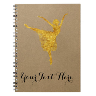 Ballet Dance Journal | Gold Ballerina Kraft Paper