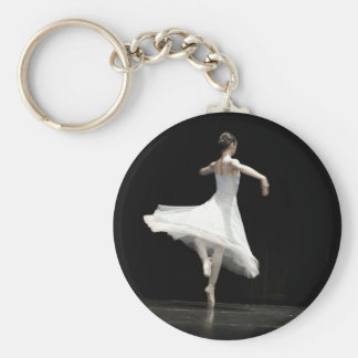 Ballet Dancer Basic Round Button Key Ring