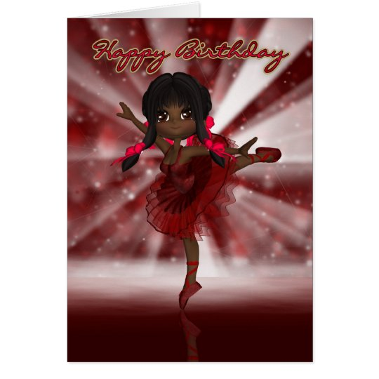 Ballet Dancer Birthday Card - African American Bal