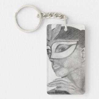 Ballet Dancer in Mask Single-Sided Rectangular Acrylic Key Ring