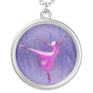 Ballet dancer in pink on blue background silver plated necklace