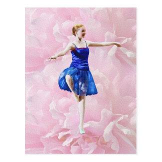Ballet Dancer on Pink Rose Postcard