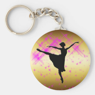 BALLET DANCER SILHOUETTE BASIC ROUND BUTTON KEY RING