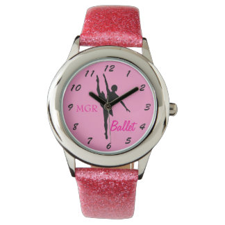 Ballet Dancer Silhouette on Pink Custom Initials Watch