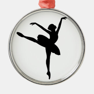 Ballet Dancer Silver-Colored Round Decoration