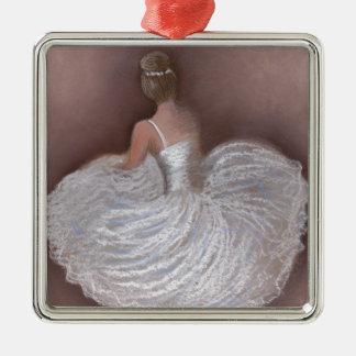 ballet dancer Silver-Colored square decoration