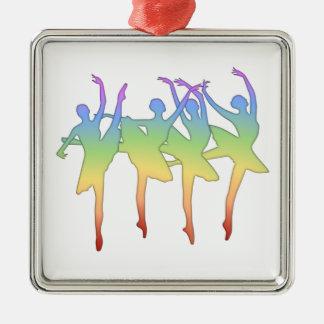 Ballet Dancers Silver-Colored Square Decoration