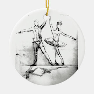 Ballet Dancers Double-Sided Ceramic Round Christmas Ornament