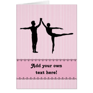 Ballet Dancers Motif to Personalize: Pink Stripe Greeting Card