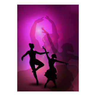 Ballet dancers pink artistic design poster