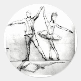 Ballet Dancers Round Stickers