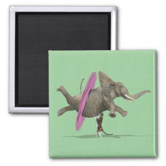 Ballet Dancing Elephant Square Magnet
