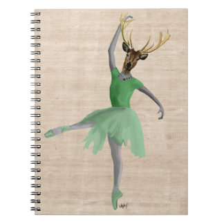 Ballet Deer in Green 2 Notebook